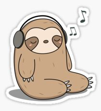 Kawaii Cute Sloth Listening To Music Sticker