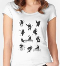Music sloths in black and white Women's Fitted Scoop T-Shirt