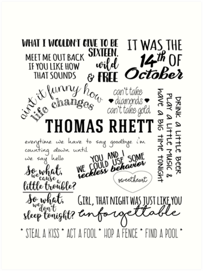 'thomas rhett life changes album lyrics' Art Print by groovy-smoothie