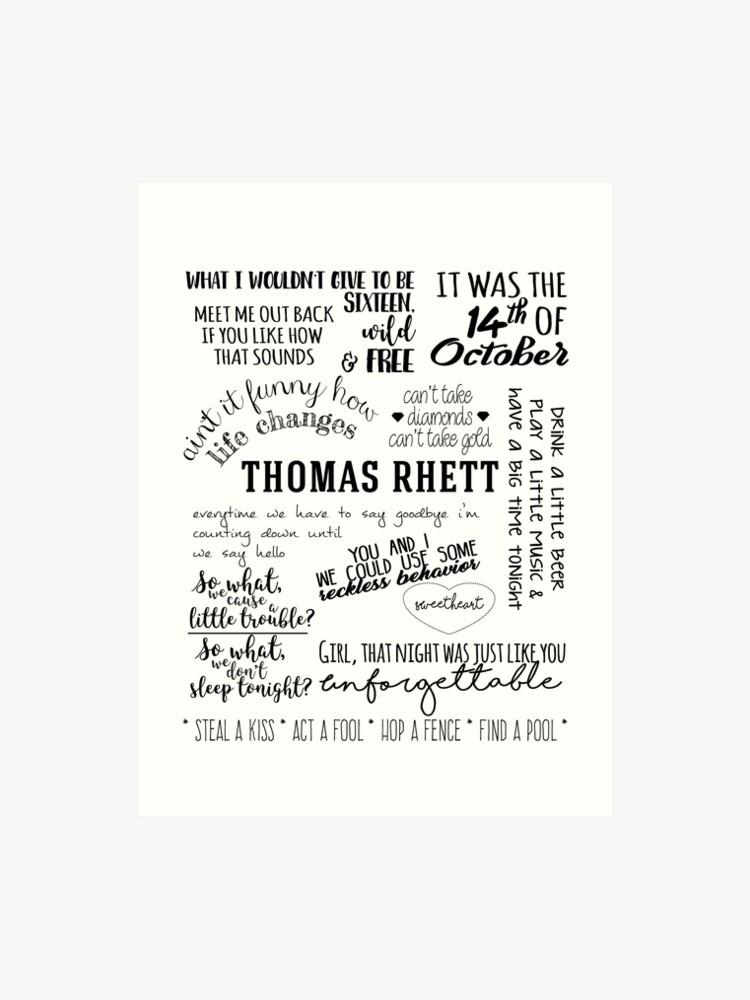 thomas rhett life changes album lyrics | Art Print