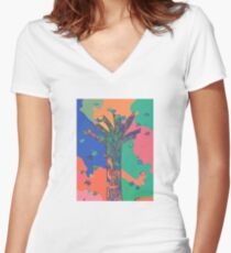 Abstract Color Block Tree with Falling Leaves, Colorful Autumn Tree Women's Fitted V-Neck T-Shirt