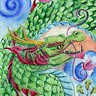 Green Asian Dragon by Nina Bolen