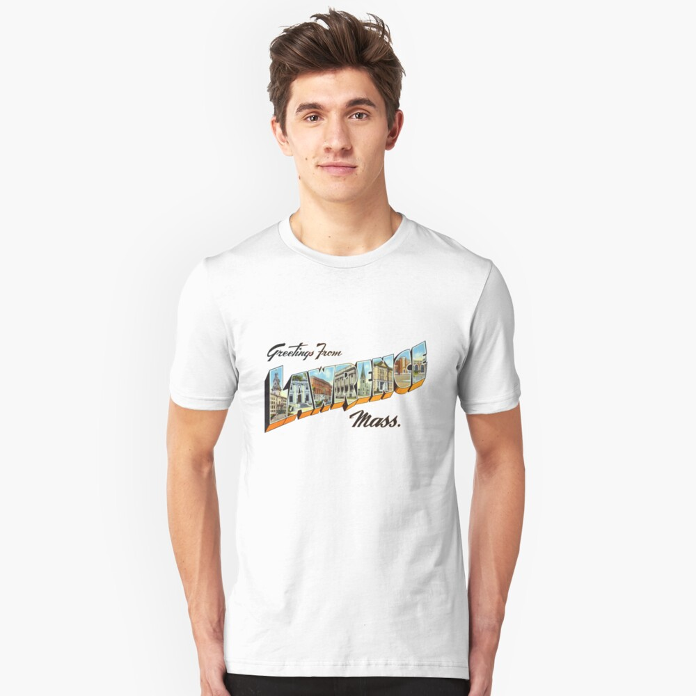 Greetings from Lawrence, Massachusetts Slim Fit T-Shirt