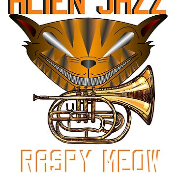 Alien Jazz Raspy Meow - Cat Musician Tee-Shirt by SithJedi