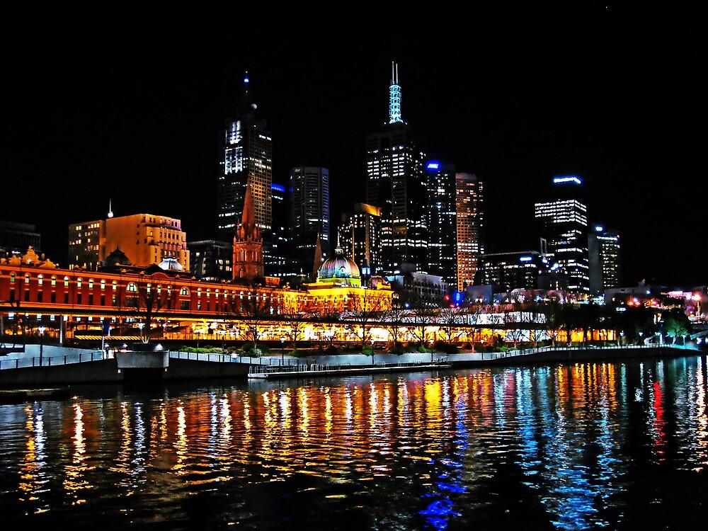 Flinders Street Station on the Yarra River by mypics4u