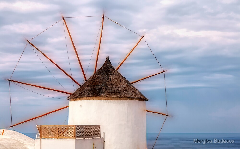 Santorini Windmill by Marylou Badeaux