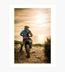 Enduro bike rider Art Print