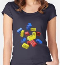 Falling Toy Bricks Women's Fitted Scoop T-Shirt
