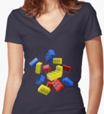 Falling Toy Bricks Women's Fitted V-Neck T-Shirt
