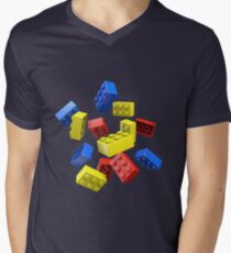 Falling Toy Bricks Men's V-Neck T-Shirt