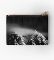 Black and white long exposure of clouds above mountain Studio Pouch