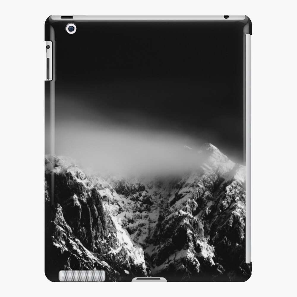 Black and white long exposure of clouds above mountain iPad Case & Skin