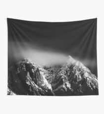Black and white long exposure of clouds above mountain Wall Tapestry