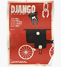 Django unchained, Quentin Tarantino minimalist movie poster, spaghetti western, Leonardo Di Caprio, Christoph Waltz, Jamie Foxx Poster