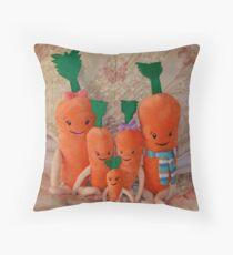 Carrot Family ( Kevin, Katie, Chardonnay, Jasper & Baby Carrot ),  Throw Pillow