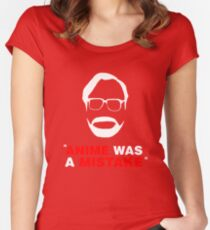 """""""Anime Was A Mistake"""" - White Design Women's Fitted Scoop T-Shirt"""
