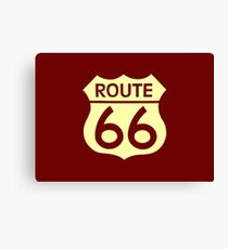 Travel USA sign of Route 66 label. Canvas Print