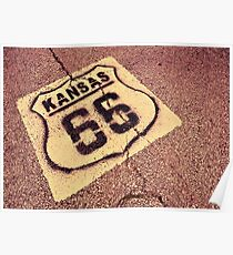 Historic Route 66 marker in Kansas. Poster