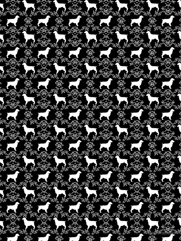 Boykin Spaniel silhouette floral dog breed pet pattern silhouettes of dogs by PetFriendly
