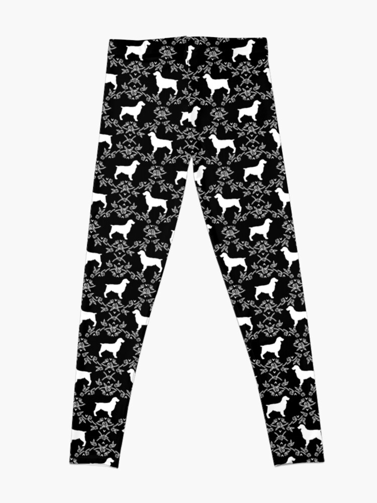 Alternate view of Boykin Spaniel silhouette floral dog breed pet pattern silhouettes of dogs Leggings