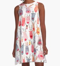 Reindeers - Animal cuteness - Winter watercolor pattern - Rudolph A-Line Dress