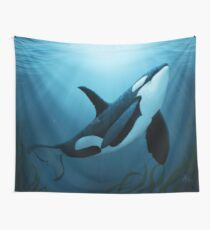 """The Dreamer"" by Amber Marine ~ (Copyright 2015) orca art / killer whale digital painting Wall Tapestry"
