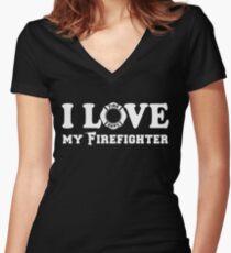 I Love my Firefighter Women's Fitted V-Neck T-Shirt