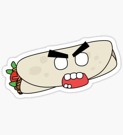 angry zombie burrito Glossy Sticker