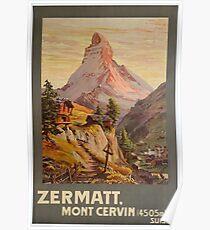 Zermatt, Mont Cervin, Ski Poster Poster