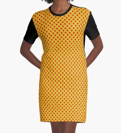 Red & Yellow Polka dots  Graphic T-Shirt Dress