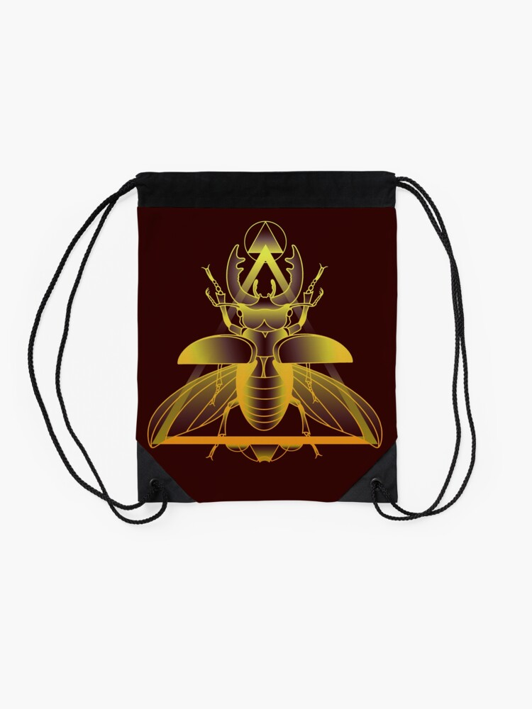 Alternate view of Stag Beetle (Golden) Drawstring Bag