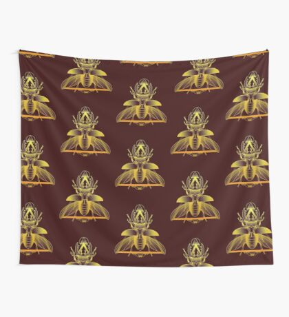 Stag Beetle (Golden) Wall Tapestry