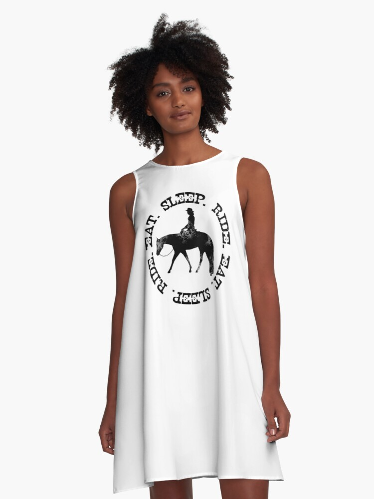 'EAT SLEEP RIDE - Distressed Western Horse Female Rider' A-Line Dress by  Stuffnthingz