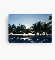 Poolside palms Canvas Print
