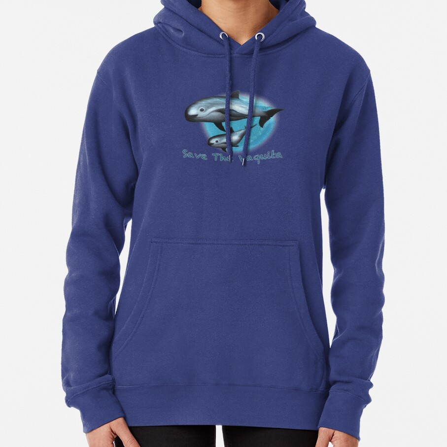 Treacherous Waters - Vaquita Porpoise Art (Copyright 2015) Original Digital Painting by artist Amber Marine  Pullover Hoodie