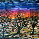 Abstract sunset repeating pattern by Regina Valluzzi