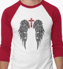 Angel wings with cross/Grunge texture Men's Baseball ¾ T-Shirt