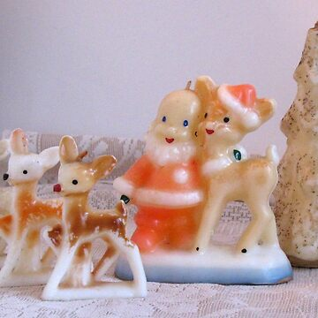 Christmas Candles Santa and Deer by collageDP