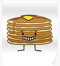 Pancakes stack butter syrup fluffy breakfast Poster