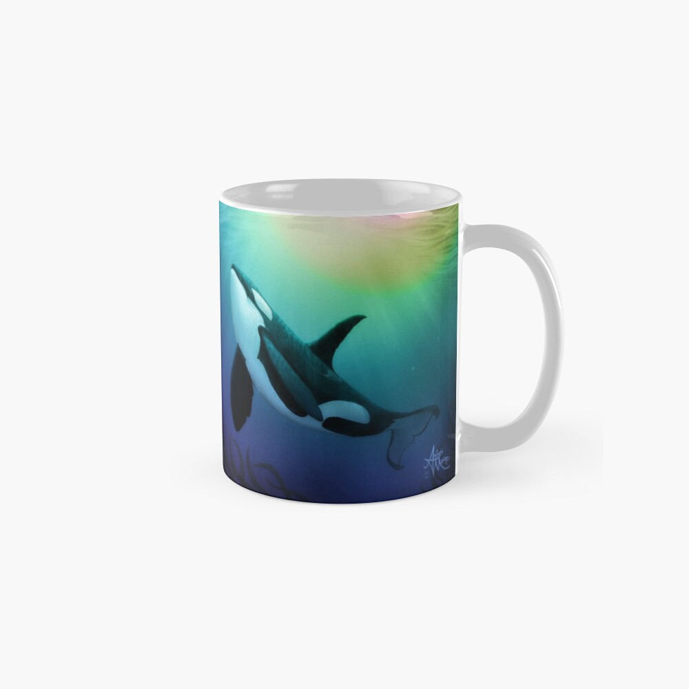 """""""The Dreamer Ascends"""" by artist Amber Marine ~ (Copyright 2015) ~ Orca Art / Killer Whale Digital Painting Classic Mug"""