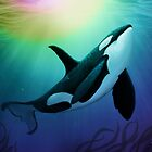 """""""The Dreamer Ascends"""" by artist Amber Marine ~ (Copyright 2015) ~ Orca Art / Killer Whale Digital Painting by Amber Marine ~ Wildlife Artist"""