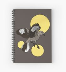 Northern Mockingbird With Yellow Circles Design Spiral Notebook