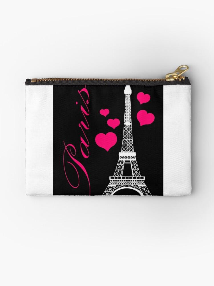 \'Paris Eiffel Tower Pink Black\' Zipper Pouch by BeachBumFamily
