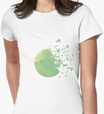 Green Moon into the Universe Lime color Women's Fitted T-Shirt