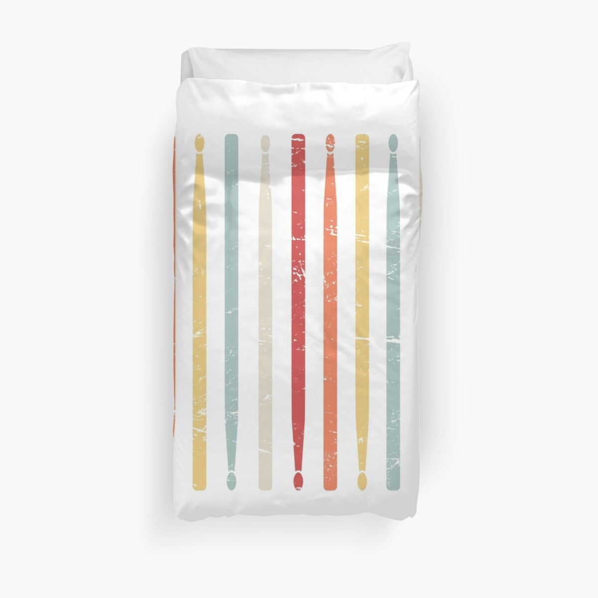 retro drum sticks marching band percussion duvet covers by nathan darks redbubble. Black Bedroom Furniture Sets. Home Design Ideas