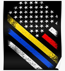 Thin Blue Red Gold Line Public Service Poster