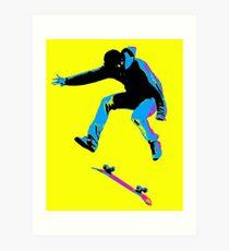 Flipping the Board - Skateboarder Art Print