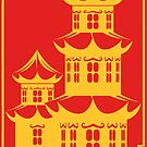 Golden Pagoda (Against Red) - Happy Chinese New Year by aidadaism