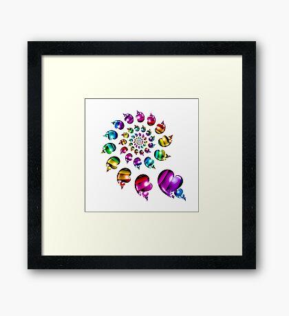 Rainbow Heart Wheel on White Framed Print