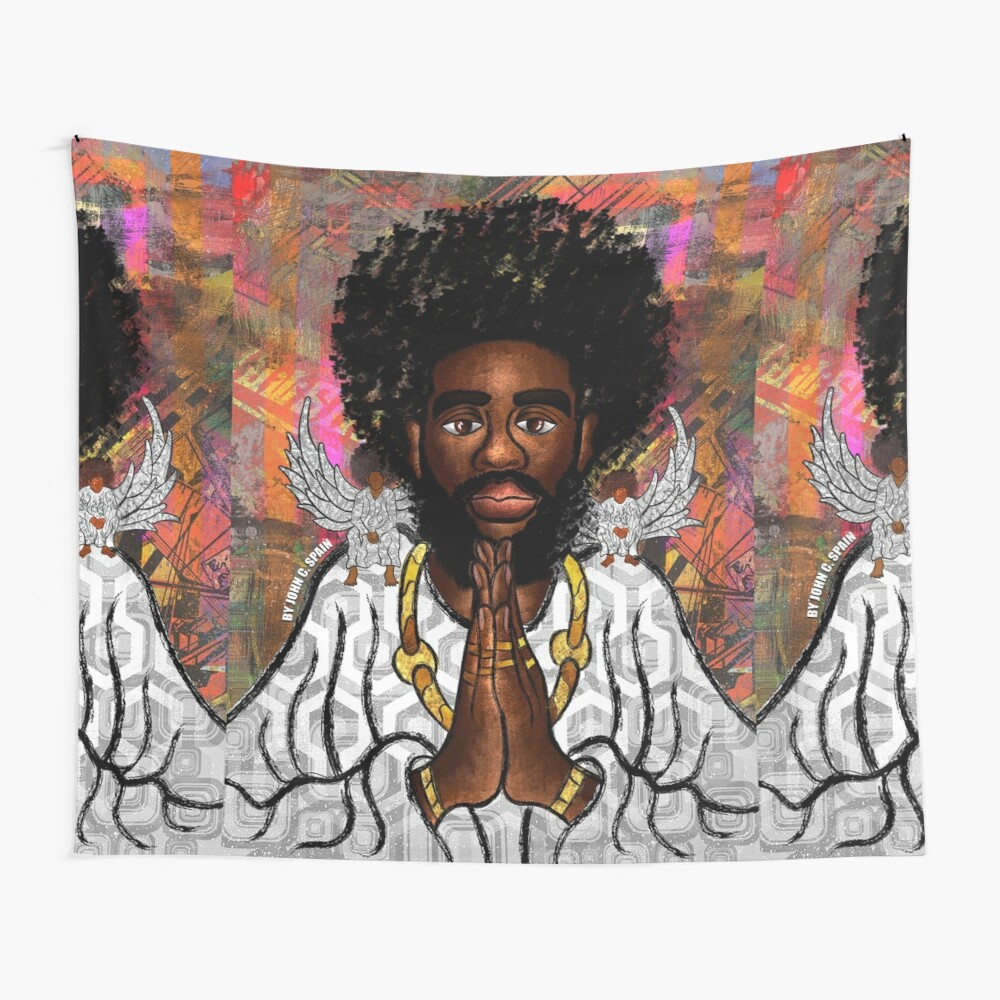 Black Jesus Wall Tapestry